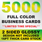 5000 FULL COLOR BUSINESS CARDS W YOUR ARTWORK READY TO PRINT 2 SIDED GLOSSY