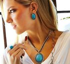 Scottsdale Necklace by Park Lane  turquoise oval gem /amulet / silver chain New