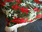 Vintage Xmas Tablecloth good cond some fringe missing Bright Poinsettias LOOK