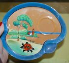 3 Vintage Hand Painted Lusterware SNACK PLATES CUPS LOTUS Iridescent Red Japan