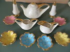 Vtg SEBRING, OHIO BROWN CHINA OPALESCENT TEAPOT, C/S, SALT PEPPER TEABAG DISHES