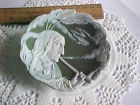 antique Heubach American Indian tribe Chief smoking pipe jasperware plate RARE