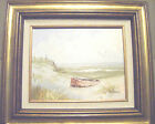 Orange Dingy Awaits ~ Beach Scene Oil on Canvas by KARL NEUMANN ~ SIGNED