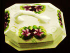 Antique Royal Rudolstadt Prussia Covered Cheese Dish  Violet flower design
