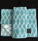 CYNTHIA ROWLEY TURQUOISE WHITE GEOMETRIC PRINT HAND TOWELS - SET OF 2 - NEW
