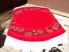 Vtg 64 Round Xmas Gold Poinsettia  Silver Pinecones Fringed Table Cloth Cotton