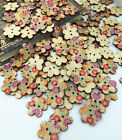 DIY 50 wood color flower shape 2 Holes Wood Sewing Buttons Scrapbooking 25mm