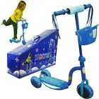 3 Wheel Kick Scooter w/ LED Light Up Wheels for Toddler Kids Ride on Toy - Blue
