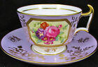 COPELAND SPODE LILAC HAND PAINTED FLORAL LONDON SHAPE TEA CUP AND SAUCER