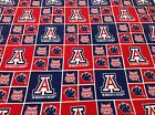 University of Arizona Fabric Red White Blue Wildcats Logo Cotton Crafts 2 Yards