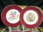 SALEM CHINA CO.RED BAND GOLD GILT WORK SET OF 2 FLORAL CHARGERS