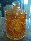 Marigold Carnival Glass Imperial Biscuit Jar With Lid