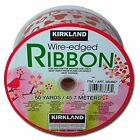 NEW Wire-edged Ribbon 50 Yards / 45.7 Meters - White with Hearts