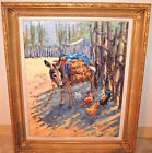 Authentic 1997 Original Flint Reed OIL painting 30x24 Donkey with Chickens #18