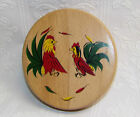 Vintage Rooster/Chicken Wood Hamburger Press/Mold-Hinged Lid