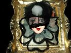 Artisan Arturo E.Reyna LADY FACE HEAD BLACK HAT Hand SCULPT CERAMIC BROOCH/PIN