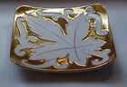 Beautiful Vintage Gold Plate w/ white Embossed Leaf marked Italy 1176