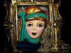 Artisan Arturo E.Reyna LADY FACE HEAD GOLDEN HAT Hand SCULPT CERAMIC BROOCH/PIN