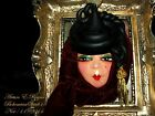 Artisan Arturo E.Reyna LADY FACE HEAD 1940's HAT Hand SCULPT CERAMIC BROOCH/PIN