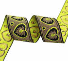 Metallic Gold Jacquard Ribbon Decorative Craft 3.3 Cm Wide Sari Ribbon By 1Yd