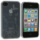 Clear TPU Flower Butterfly Skin Case Cover for ATt Sprint Verizon iPhone 4S 4G