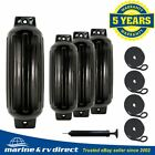4 Black Boat Fenders 65 x 23 Vinyl Ribbed Bumper Dock Shield Protection