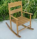 Vintage Child's Wooden Rocking Chair Solid Oak With Slat Seat
