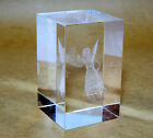Laser etched PAPERWEIGHT ANGEL acrylic lucite glass crystal  3 Tall