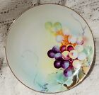 ANTIQUE NIPPON HAND PAINTED PLATE - GRAPE DESIGN WITH GOLD EDGE - 8