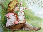 Victorian Child Whispers Easter Bunny Quilt Block Multi Szs FrEE ShiP WoRld WiDE
