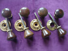 unusual set of 4 antique fruitwood door handles for use with rim lock