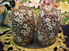 Crownford China Brown Calico Large Salt & Pepper Shakers Staffordshire England