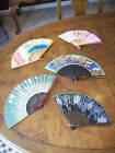 Mixed Lot of 5 Vintage Hand Fans Painted Occupied Japan Decorative Asian Art