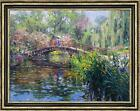 Original Oil painting art Impressionism Landscape water lily in pond 36