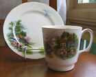 Royal Vale Bone China MUG & small Plate #7382 Cottage Scene England HTF