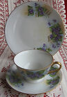 VTG BAVARIA GERMANY BAREUTHER HAND PAINTED Violets Tea Cup Saucer Plate Trio