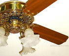 CASABLANCA VICTORIAN CEILING FAN VINTAGE 1980s POLISHED BRASS w/ LIGHT CANOPY