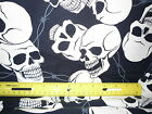 Large Print Skulls & Barbed Wire Fabric - Sold by the Yard - Free Shipping
