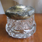 Trinket Dresser Antique Jar EAPG pattern glass Plated Spelter lid Art Nouveau
