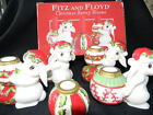 Fitz and Floyd Christmas Bunny Blooms Candle Set BONUS Extra Set!! w/box 5pc Lot