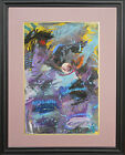 Large Abstract Mix Media Painting Modern Art ORIGINAL 30x40 Framed and Matted
