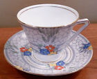 Antique Bell China English bone china art deco floral cup and saucer - FREE SHIP