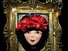 Artisan Arturo E.Reyna LADY FACE HEAD RED ROSES HAT Hand SCULPT CLAY BROOCH/Pin