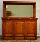Antique Solid Quartersawn Tiger Oak Server Sideboard Buffet  w/ mirror