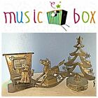 Lot - 3 Vintage Music Boxes Piano Player Brass Horse Revolving Christmas Tree