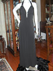 DAVIDS BRIDAL BLACK  SIZE 4 FORMAL GOWN DRESS SEXY HALTER  CRYSTALS PROM WEDDING