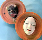 2 MINIATURE KYOTO JAPANESE ANTIQUE NOH MASKS ? CARVED & PAINTED WOOD - SIGNED