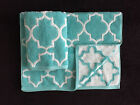 CYNTHIA ROWLEY TURQUOISE WHITE QUATREFOIL HAND TOWELS - SET OF 2 - NEW