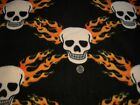 White Skulls with Orange Flames On Black Anti Pill Fleece 1 Yards by 58