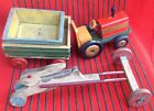 Vintage Wooden Decorative Toys Toy Truck Tractor with trailer & Rabbit Handmade